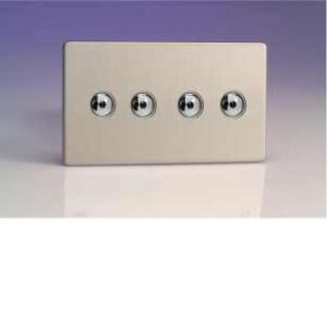 Varilight iDSi254MS 4 Gang 250W 1 Way Remote Control / Touch Dimmerswitch (Twin Plate) In Brushed Steel