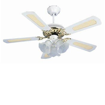 Global San Diego 42 3 Light White And Brass Ceiling Fan