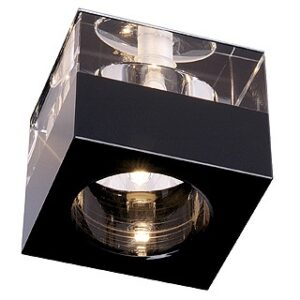 114960 Yudi Low Voltage Square Downlighter In Black And Clear