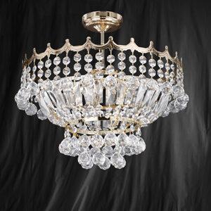 Searchlight 9113-39GO Versailles Gold Finish/Crystal Semi Flush 5 Light Chandelier