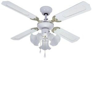 Global 42″ Orlando Ceiling Fan In White And Brass With 3 Lights