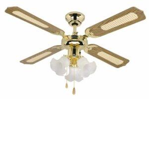 Global 42″ Orlando Polished Brass 3 Light Ceiling Fan