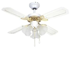 Global 36″ Rio Ceiling Fan In White And Brass With 3 Lights And Reversible White/White And Cane Blades