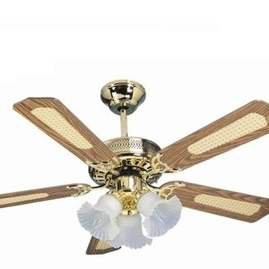 Global San Diego Polished Brass 42 3 Light Ceiling Fan With Reversible Oak And Cane Mahogany