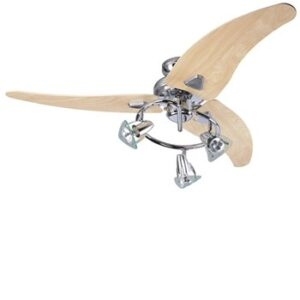 Global 48″ Scorpion Ceiling Fan In Chrome With 3 Light Spots And Washed Oak Blades