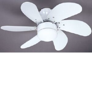 Global 30″ Atlanta Ceiling Fan With A Light In The Middle In White