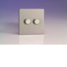 Varilight HDS77S 2 Gang Low Load Dimmer 2 Way Push-On Push-Off In Brushed Steel