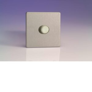 Varilight 1 Gang 1000W 2-Way Push-On Push-Off Dimmer In Brushed Steel HDS9S