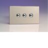 Varilight iDSi403MS 3 Gang 400W 1 Way Remote Control / Touch Dimmerswitch (Twin Plate) In Brushed Steel