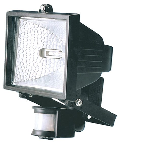 Outdoor Light Pir Override: 150W Floodlight With PIR In Black