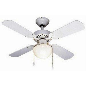 Global 36″ Rimini Ceiling Fan In White With Globe Light And Reversible White/White And Cane Blades