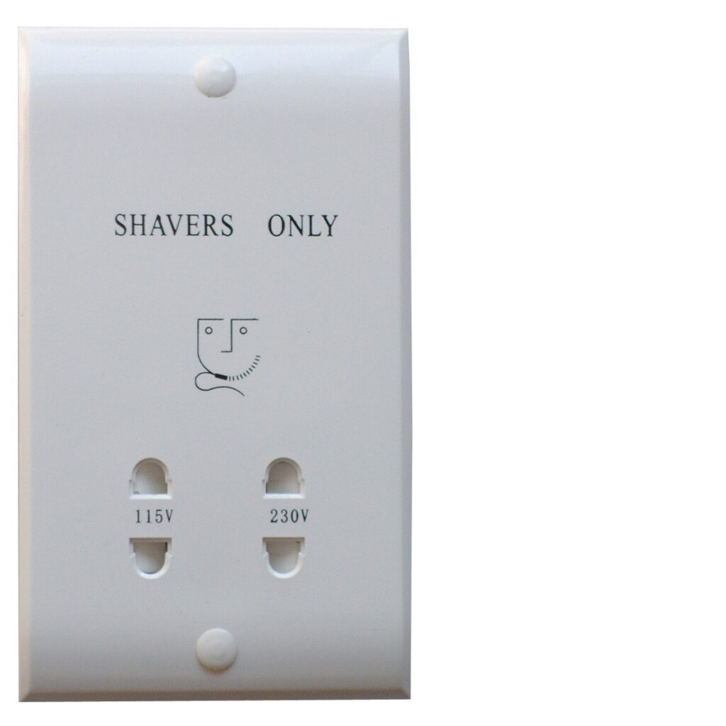 Dual Voltage Shaver Socket In White