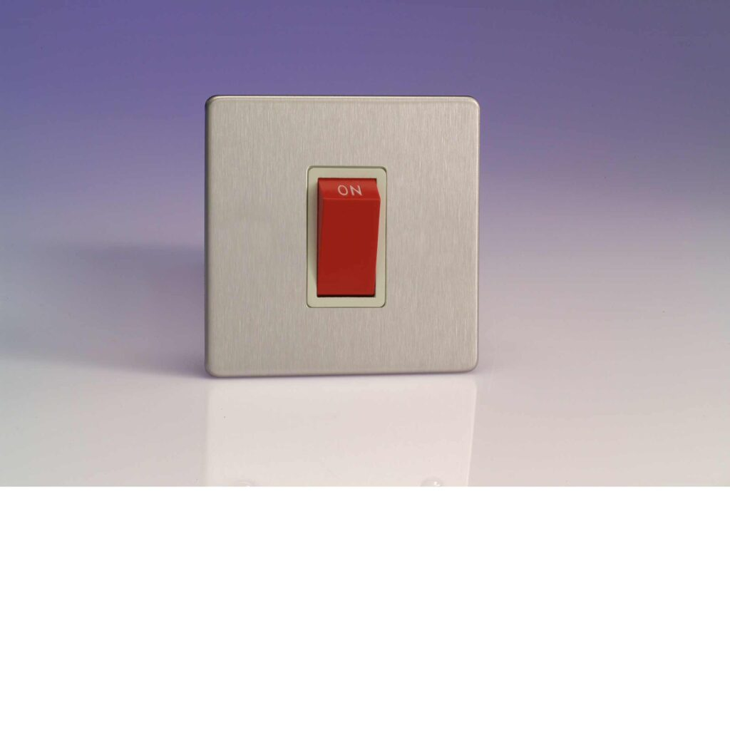 Varilight 45a Cooker Switch Single Plate In Brushed Steel With Wiring Socket White Insert Xds45sws