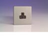 Varilight 1 Gang 2A Round Pin Socket In Brushed Steel With Black Insert XDSRP2ABS