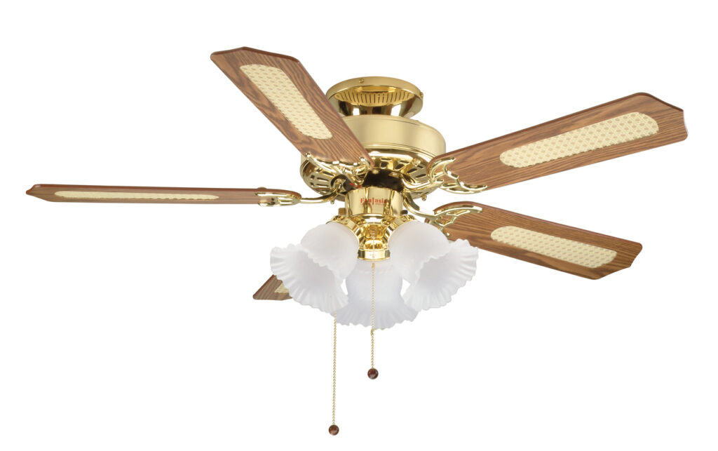 Global Belaire 42 Ceiling Fan In Polished Brass