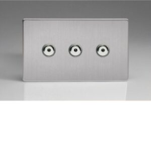 Varilight IJDSI103S V-Pro IR 3 Gang 1 Way Screwless Remote Control Master LED Touch Dimmer 0-100w