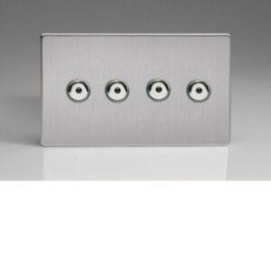 Varilight IJDSI104S V-Pro IR 4 Gang 1 Way Screwless Remote Control Touch Dimmer 0-100w