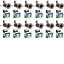 Pack Of 12 x Satin Chrome Fixed Mains Voltage GU10 Downlights With Warm White LED Lamps
